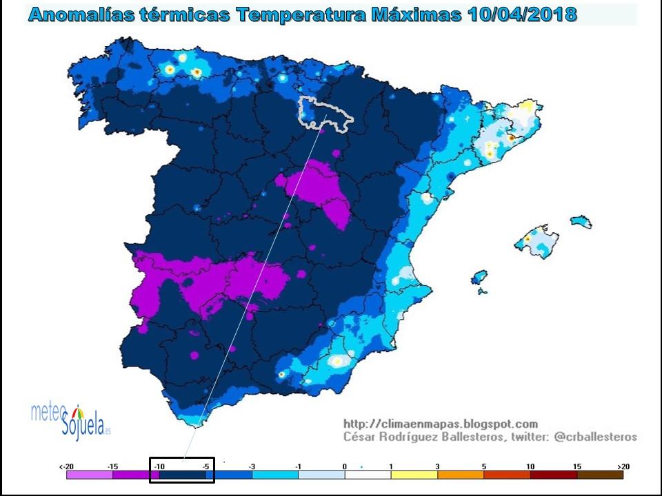 Anomalía temperaturas máximas. Meteosojuela
