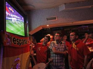 Aficionados logroñeses de la selección viendo por la tele de un bar el Mundial de Sudáfrica. Foto de Juan Marín